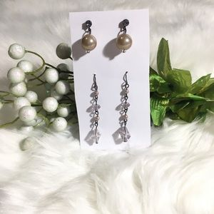 Crystals & Pearls Dangly Earrings
